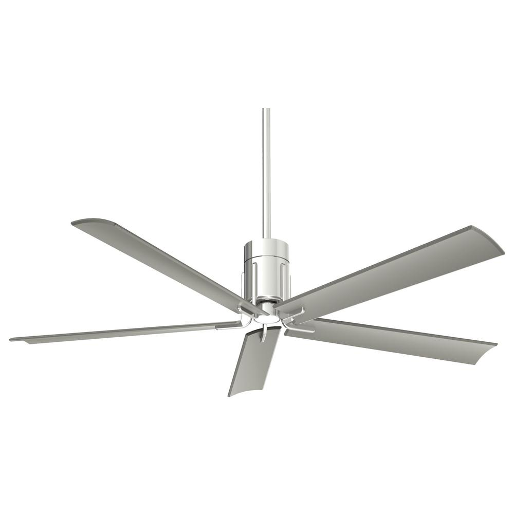 Minka-Aire Clean 60 in. Integrated LED Indoor Polished Nickel Ceiling Fan with Light with Remote Control