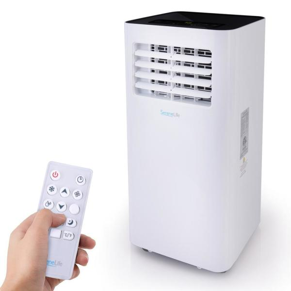 10,000 BTU Portable Air Conditioner with Built-in Dehumidifier, Fan Modes and Window Mount Kit in White Polystyrene