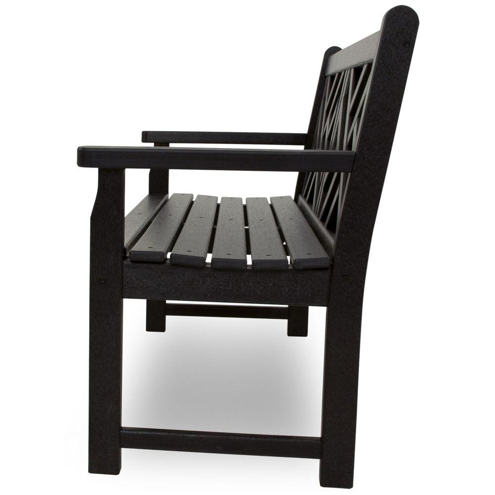 Amazing Polywood Chippendale 48 In Black Patio Bench Gmtry Best Dining Table And Chair Ideas Images Gmtryco