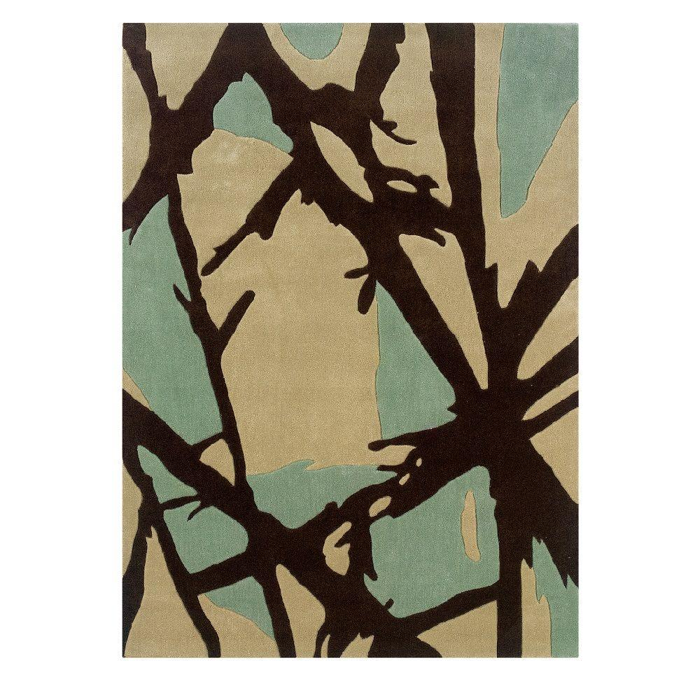 Linon Home Decor Trio Collection Charcoal and Pale Blue 5 ft. x 7 ft. Indoor Area Rug