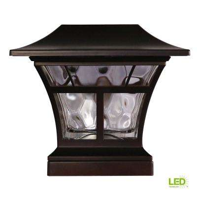 Solar Ed Outdoor Mediterranean Bronze Integrated Led 3000k Warm White Landscape Post Cap Light