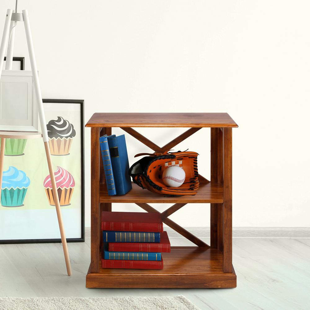 Bay View Warm Brown 3-Shelf Bookcase