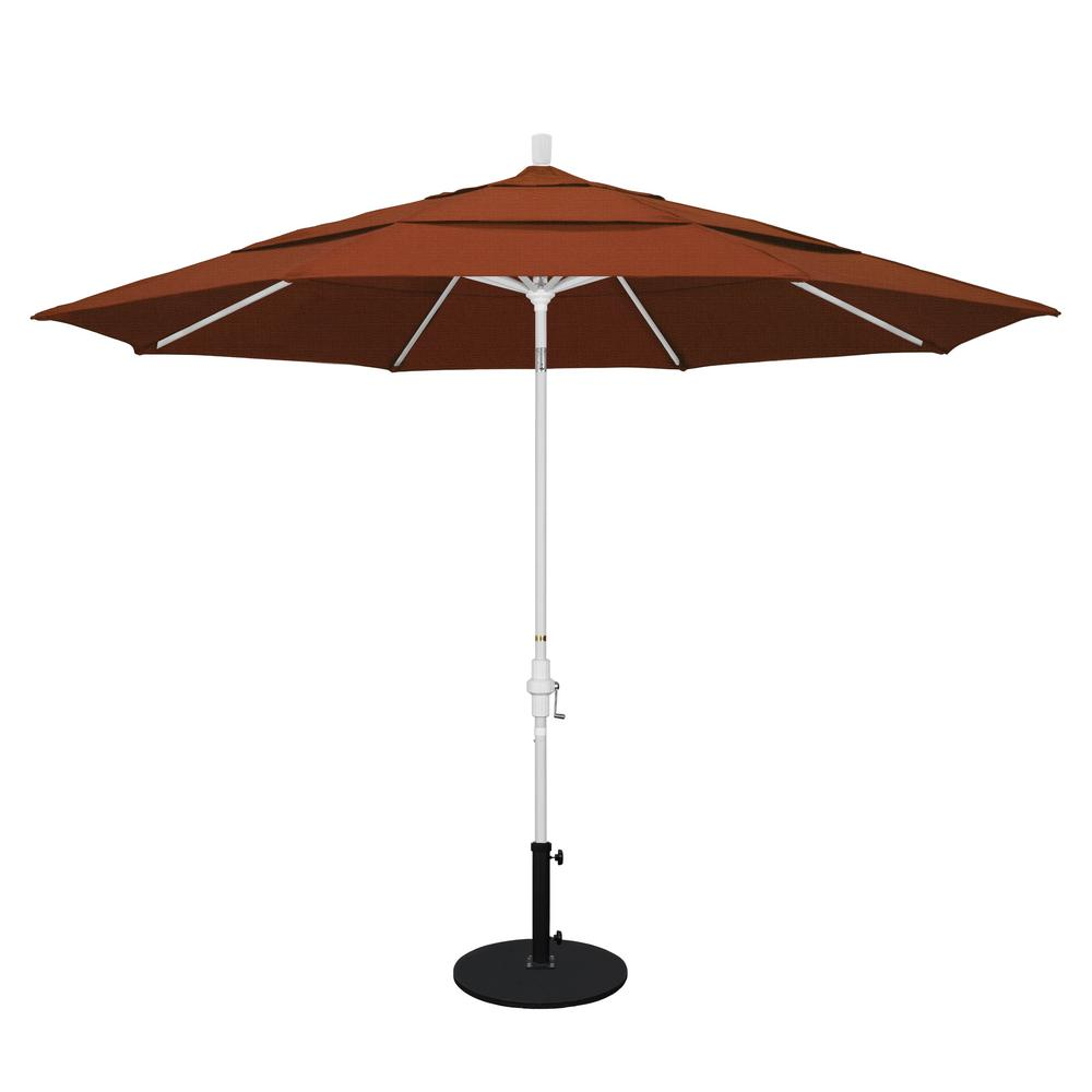 California Umbrella 11 ft. Aluminum Collar Tilt Double Vented Patio Umbrella in Terracotta Olefin