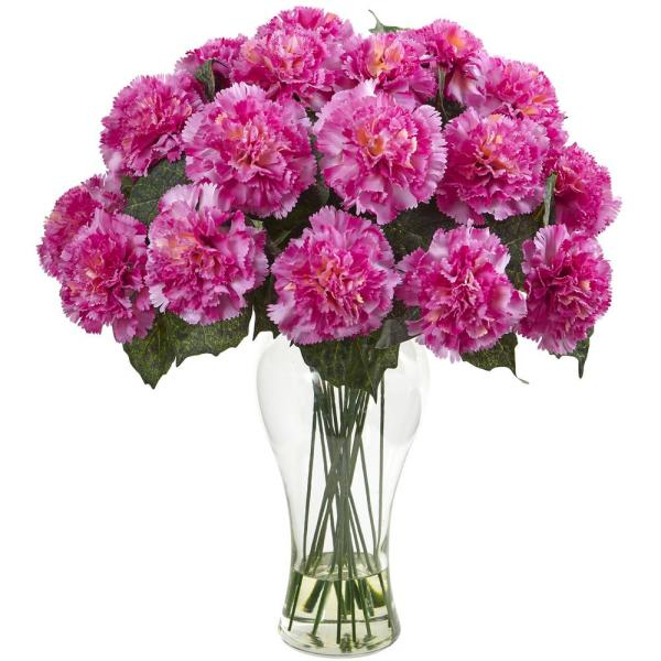Nearly Natural Pink Carnation Arrangement with Vase