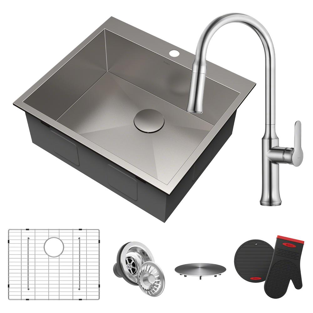 Pax All-in-One Drop-In Stainless Steel 25 in. 1-Hole Single Bowl Kitchen