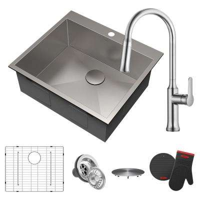Pax All-in-One Drop-In Stainless Steel 25 in. 1-Hole Single Bowl Kitchen Sink with Pull-Down Faucet in Chrome