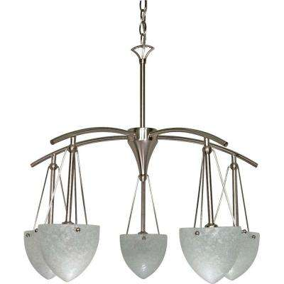 5-Light Brushed Nickel Chandelier with Water Spot Glass Shade