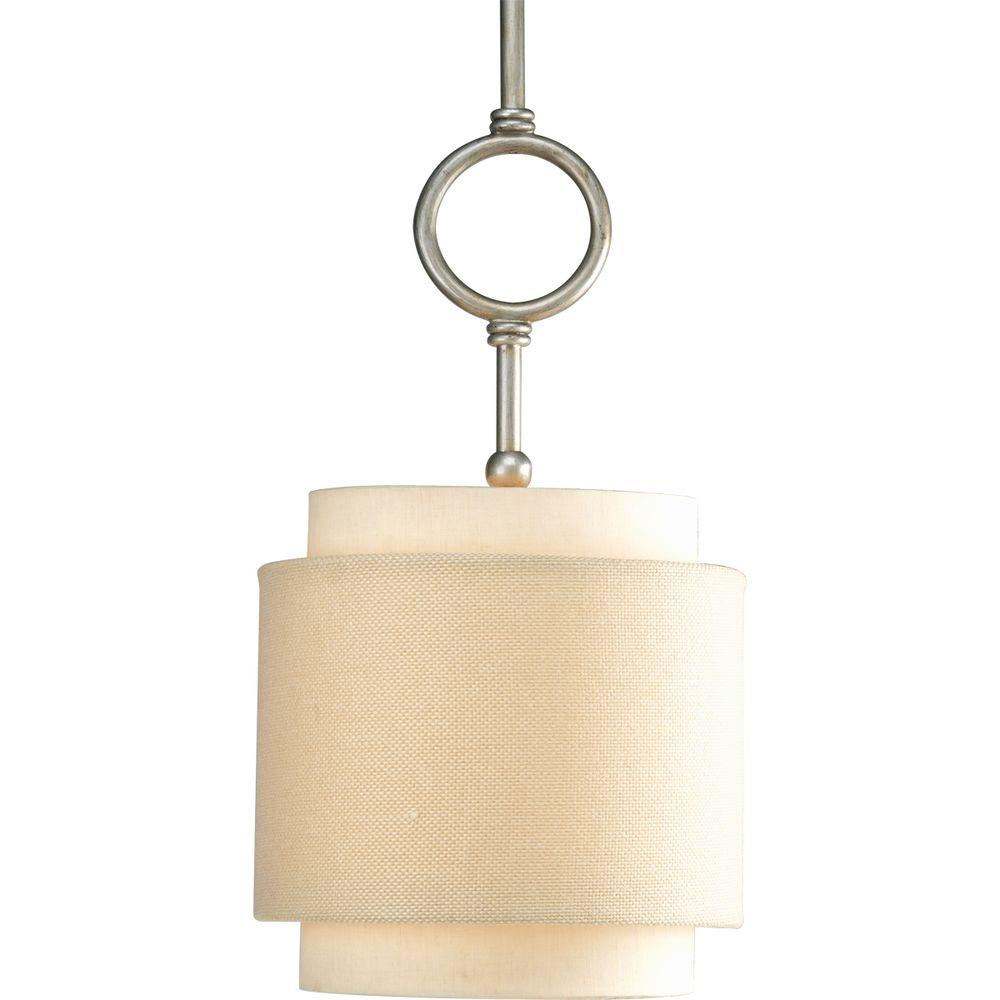 Ashbury Collection 1 Light Brushed Nickel Mini Pendant With Toasted Linen  Shade