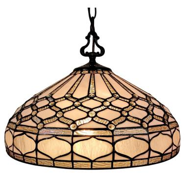 18 in. Tiffany Style 2-Light White Hanging Pendant Lamp
