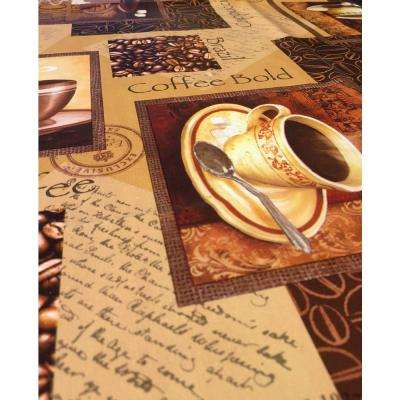 55 in. x 102 in. Indoor and Outdoor Coffee Cup Design Table Cloth for Dining Table