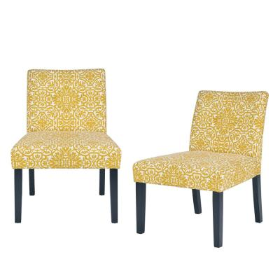 Nate Golden Yellow Damask Side Chairs (Set of 2)