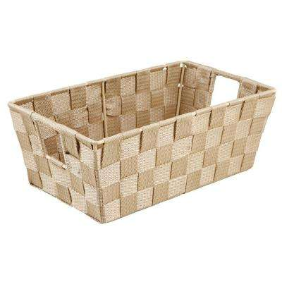 4.5 in. x 11.4 in. Small Woven Strap Shelf Tote Bin in Ivory
