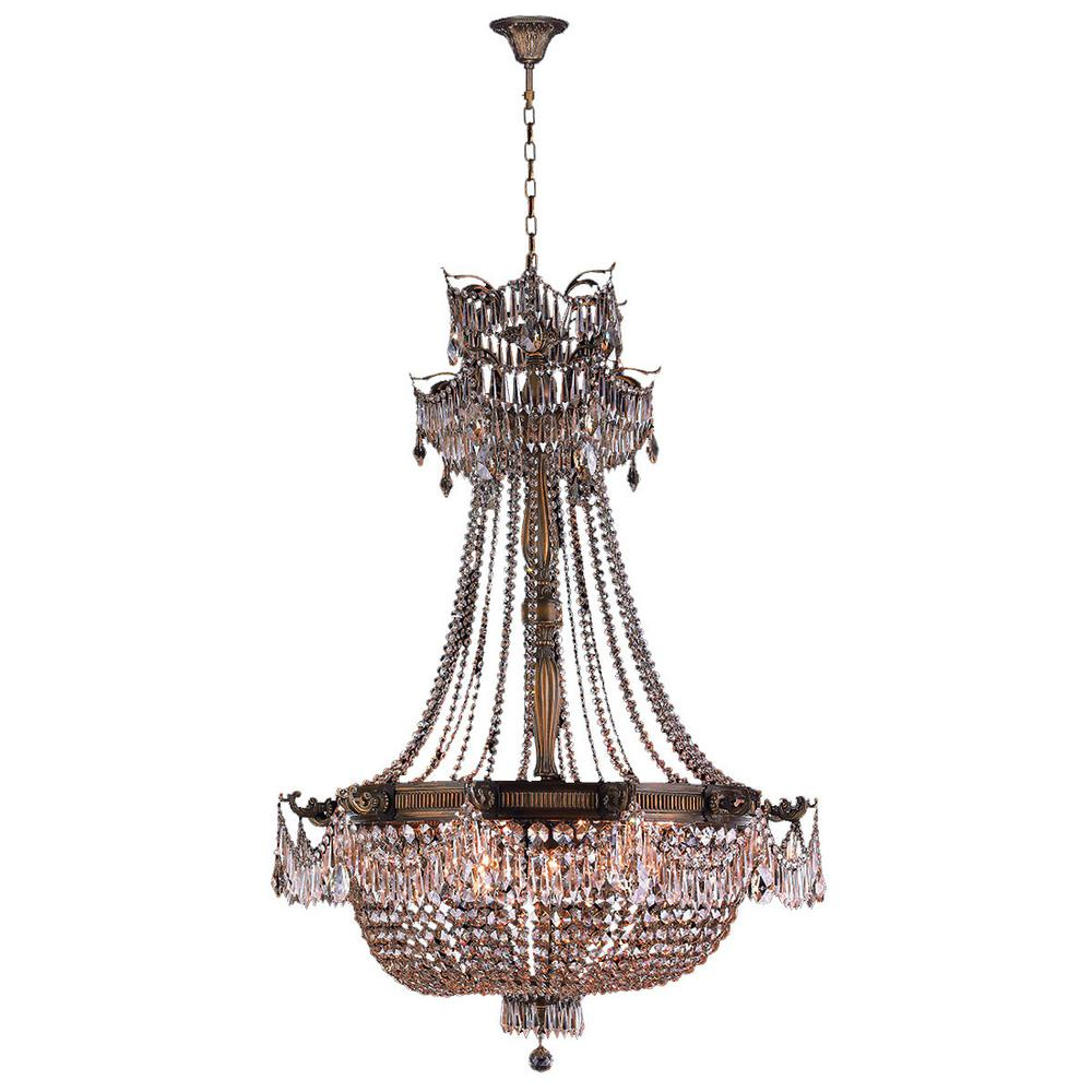 Worldwide Lighting Winchester 12-Light Antique Bronze Chandelier with Clear Crystal