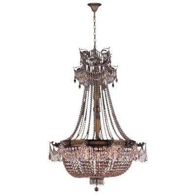 Winchester 12-Light Antique Bronze Chandelier with Clear Crystal