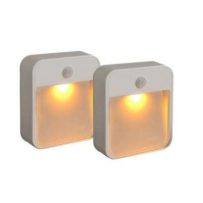 Stick Anywhere Motion Activated Battery Powered 20-Lumen Amber LED Night Light in White (2-Pack)