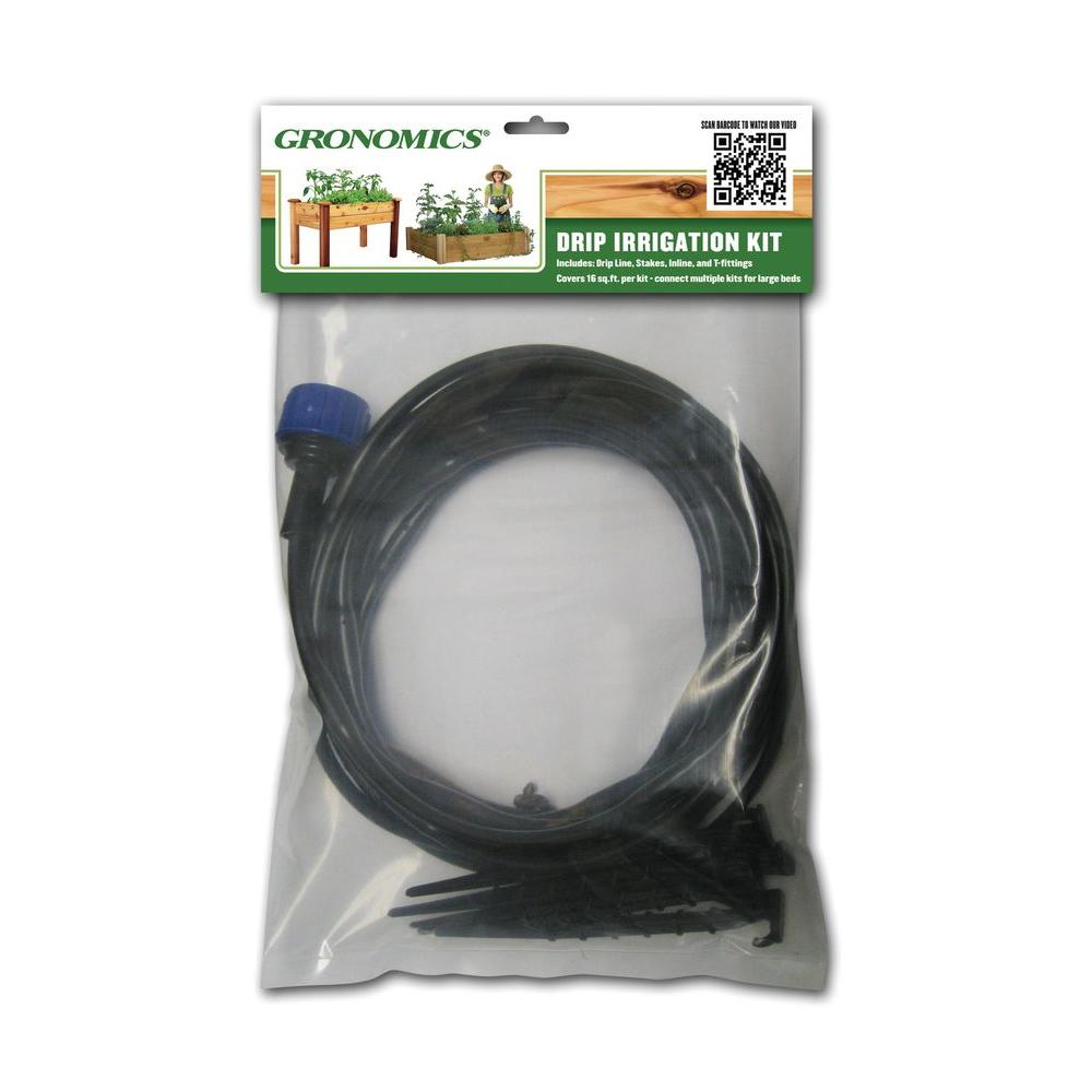 Gronomics Garden Bed Drip Irrigation Kit Water your garden with ease, simply stake down the drip line in your garden bed and attach the garden hose. Works great with a timer. This universal kit can be used on any raised or elevated garden bed.