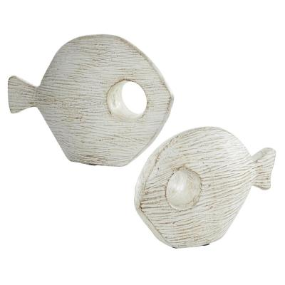 LITTON LANE Whitewashed Oval Fish Sculptures, Set of 2: 13 in., 9 in.