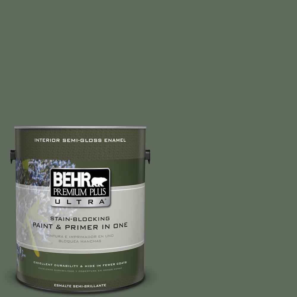 1-gal. #450F-6 Whispering Pine Semi-Gloss Enamel Interior Paint