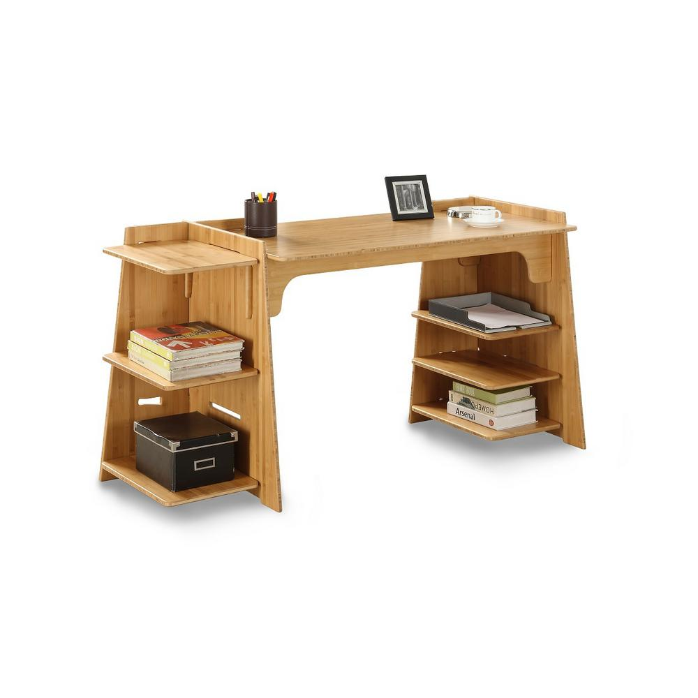 Desk Adjustible Widths Solid Wood Amber Color Amber Bamboo Craft