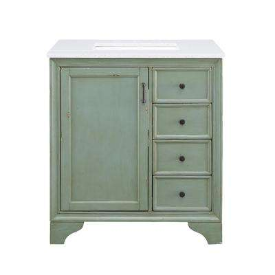 Hazelton 31 in. W x 22 in. D Vanity in Antique Green with Engineered Stone Vanity Top in Crystal White with White Basin