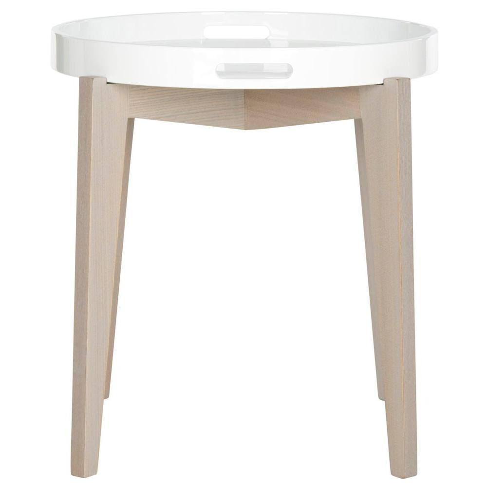 Safavieh Ben White And Light Grey Side Table