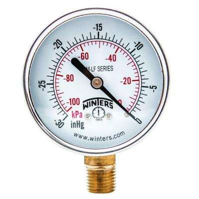 PEM-LF Series 2 in. Lead-Free Brass Pressure Gauge with 1/4 in. NPT LM and 0-30 in. VAC/kPa