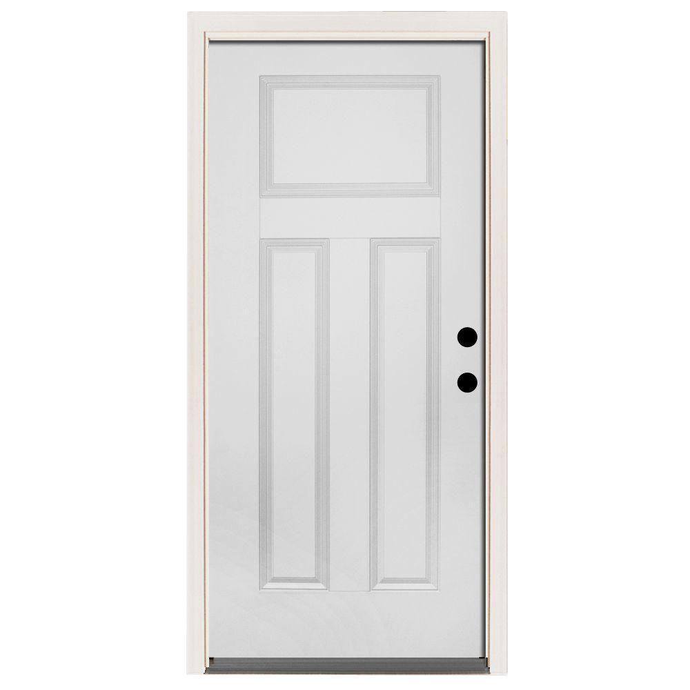 Premium 3-Panel Primed White Steel Prehung Front Door