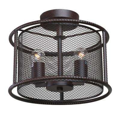 2-Light Bronze Drum Semi-Flush Mount Light