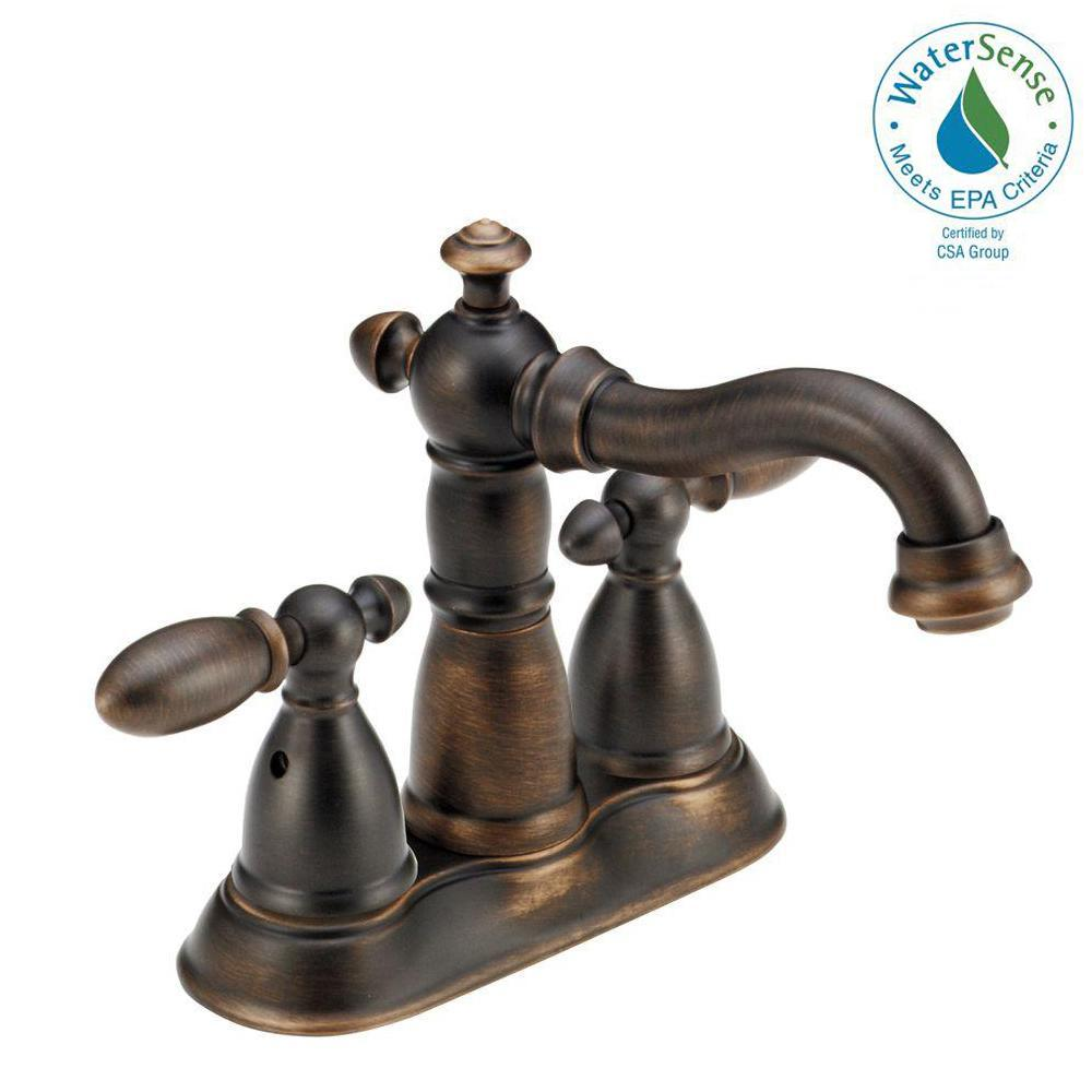 Victorian Gooseneck Lavatory Faucet With Metal Cross Handles In Orb Possible Faucet For Powder: Delta Victorian 4 In. Centerset 2-Handle Bathroom Faucet With Metal Drain Assembly In Venetian