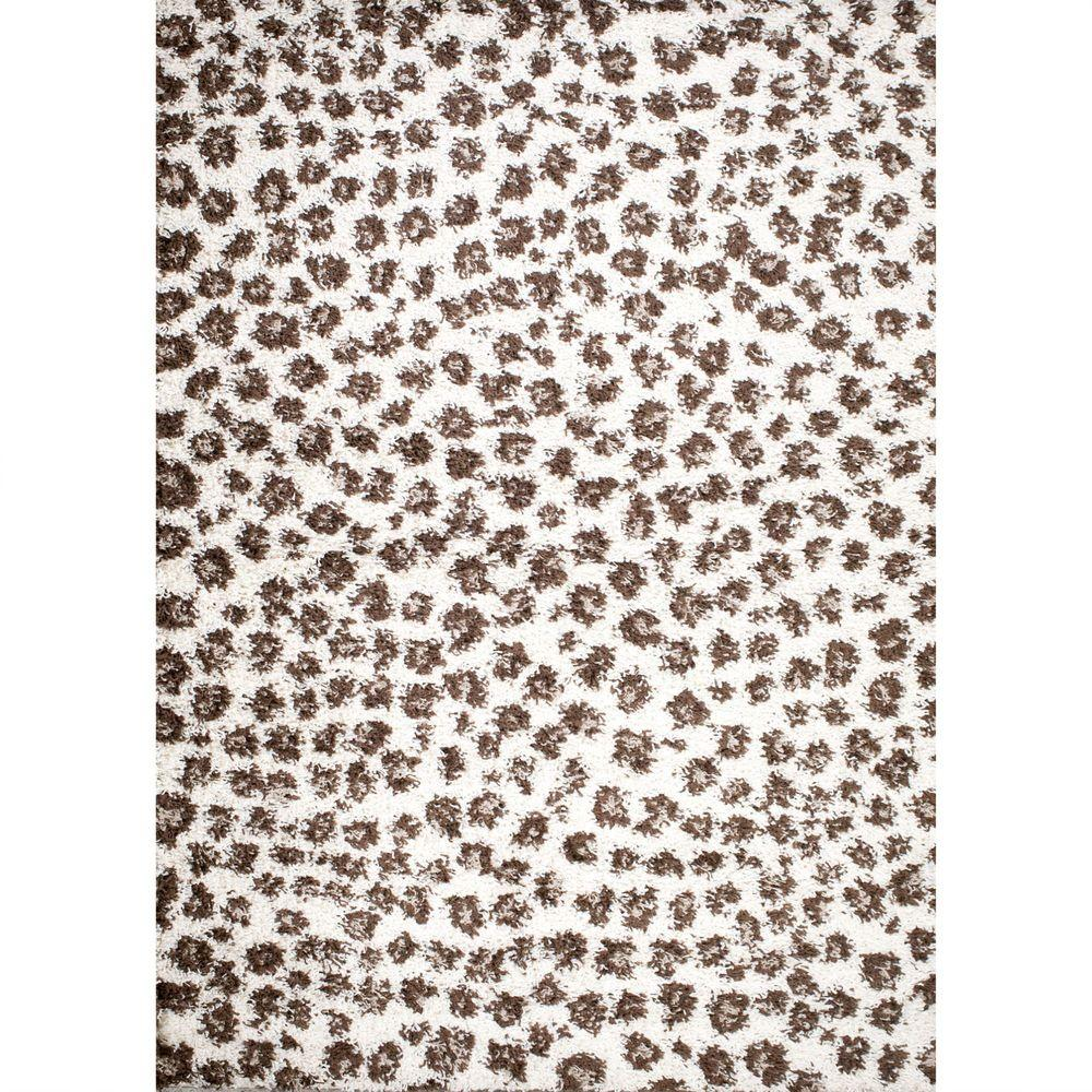 Concord Global Trading Shaggy Leopard Ivory 5 ft. x 7 ft. Area Rug