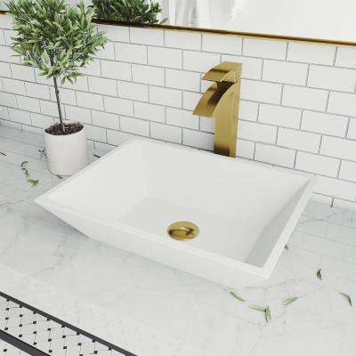 Vinca Matte Stone Vessel Bathroom Sink in White with Duris Faucet in Matte Gold