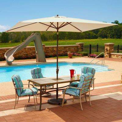 Adriatic 6.5 ft. x 10 ft. Rectangular Aluminum Market Auto-Tilt Patio Umbrella in Champagne Olefin