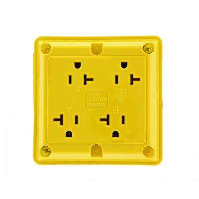 20 Amp Industrial Grade Heavy Duty 4-in-1 Grounding Outlet, Yellow