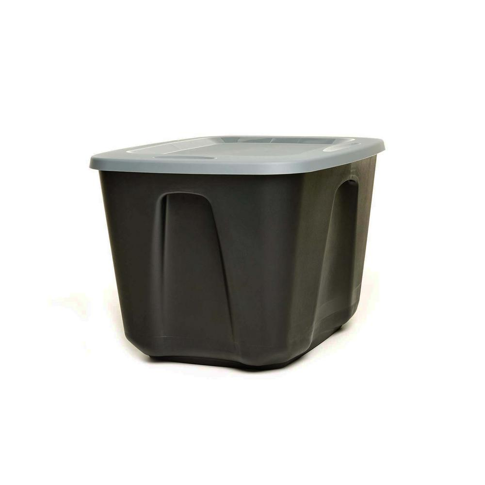 HOMZ EcoStorage 18 Gal. Container Base in Black with Grey Lid (Set/4)