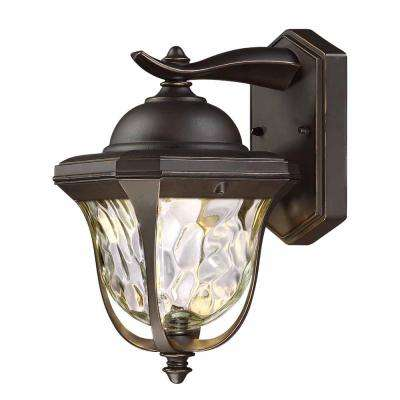 11 in. LED Aged Bronze Patina Outdoor Wall Lantern with Clear Hammered Glass Shade
