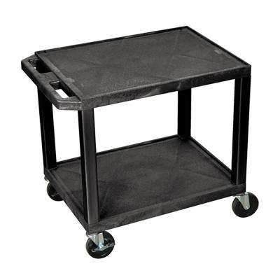 WT 26 in. H Cart with 2-Shelves, Black