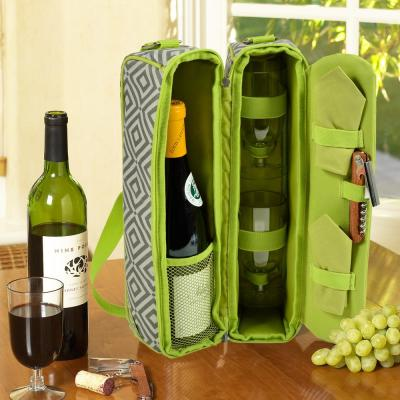 Sunset Diamond Granite Gray Wine Tote for 2 with Glasses