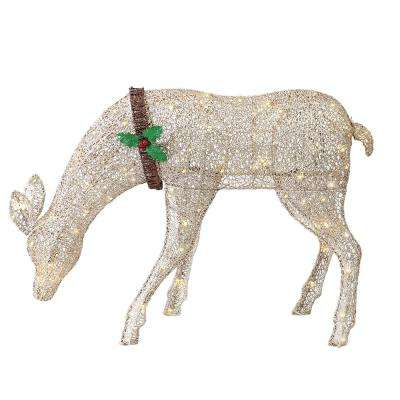 36 in. L Gold Fabric Mesh Feeding Deer with 70-UL Listed Incandescent Lights