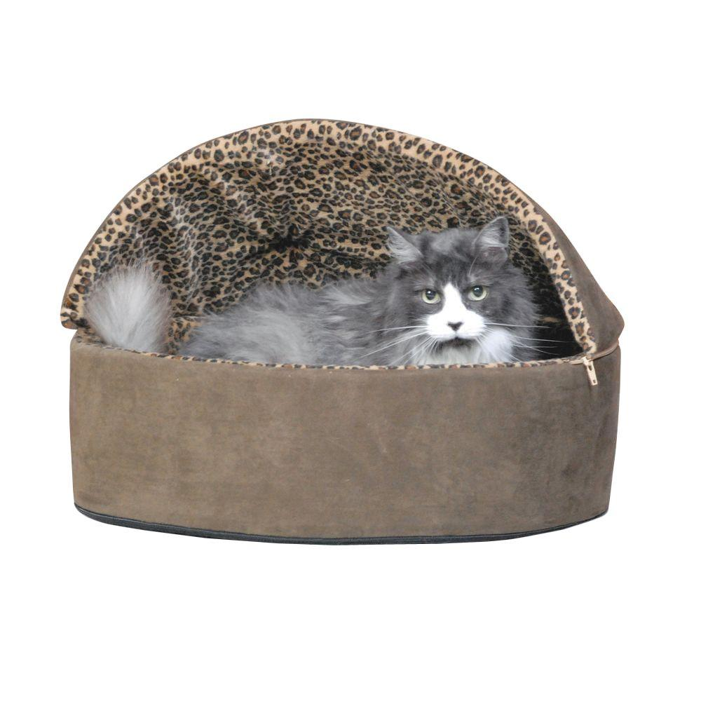 Thermo-Kitty Deluxe Small Mocha Leopard Hooded Heated Cat Bed