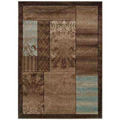 Milan Collection Brown and Aqua 8 ft. x 10 ft. Indoor Area Rug