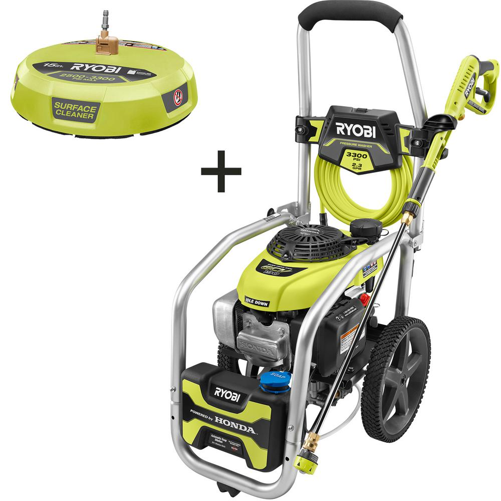 RYOBI 3300 PSI 2.3 GPM Honda GCV190 Gas Pressure Washer with Idle Down and 15in Surface Cleaner