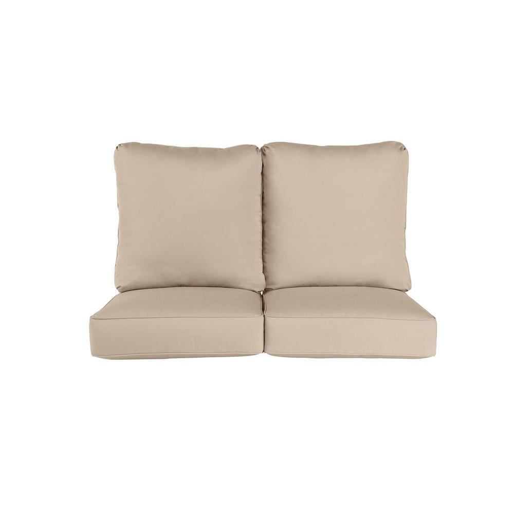 brown jordan vineyard replacement outdoor loveseat cushion in sparrow m11097 vc1 the home depot. Black Bedroom Furniture Sets. Home Design Ideas