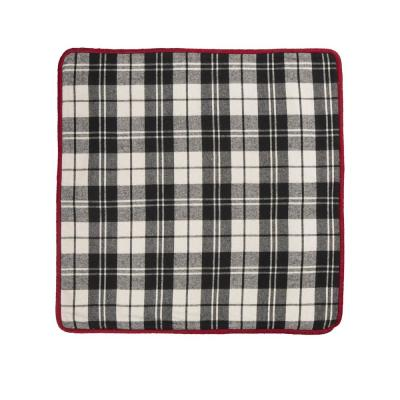 18 in. D Black and White Plaid Fabric Pillow Cover