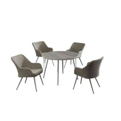 Caerus Grey Round 5-Piece Faux Wood Patio Dining Set with Grey Cushions