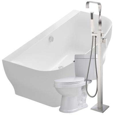 Bank 64.9 in. Acrylic Flatbottom Non-Whirlpool Bathtub in White with Yosemite Faucet and Talos 1.6 GPF Toilet