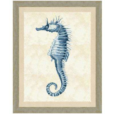 """Indigo seahorse II"" Framed Archival Paper Wall Art (26x32 in full size)"