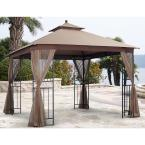 Harmony 10 ft. x 10 ft. Gazebo with Mosquito Net and Corner Shelves
