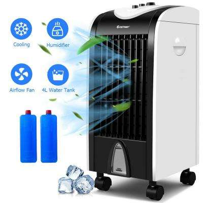 500 CFM 3-Speed Portable Evaporative Cooler Fan Humidify with Filter Knob Control in Black and White for 200 sq. ft.