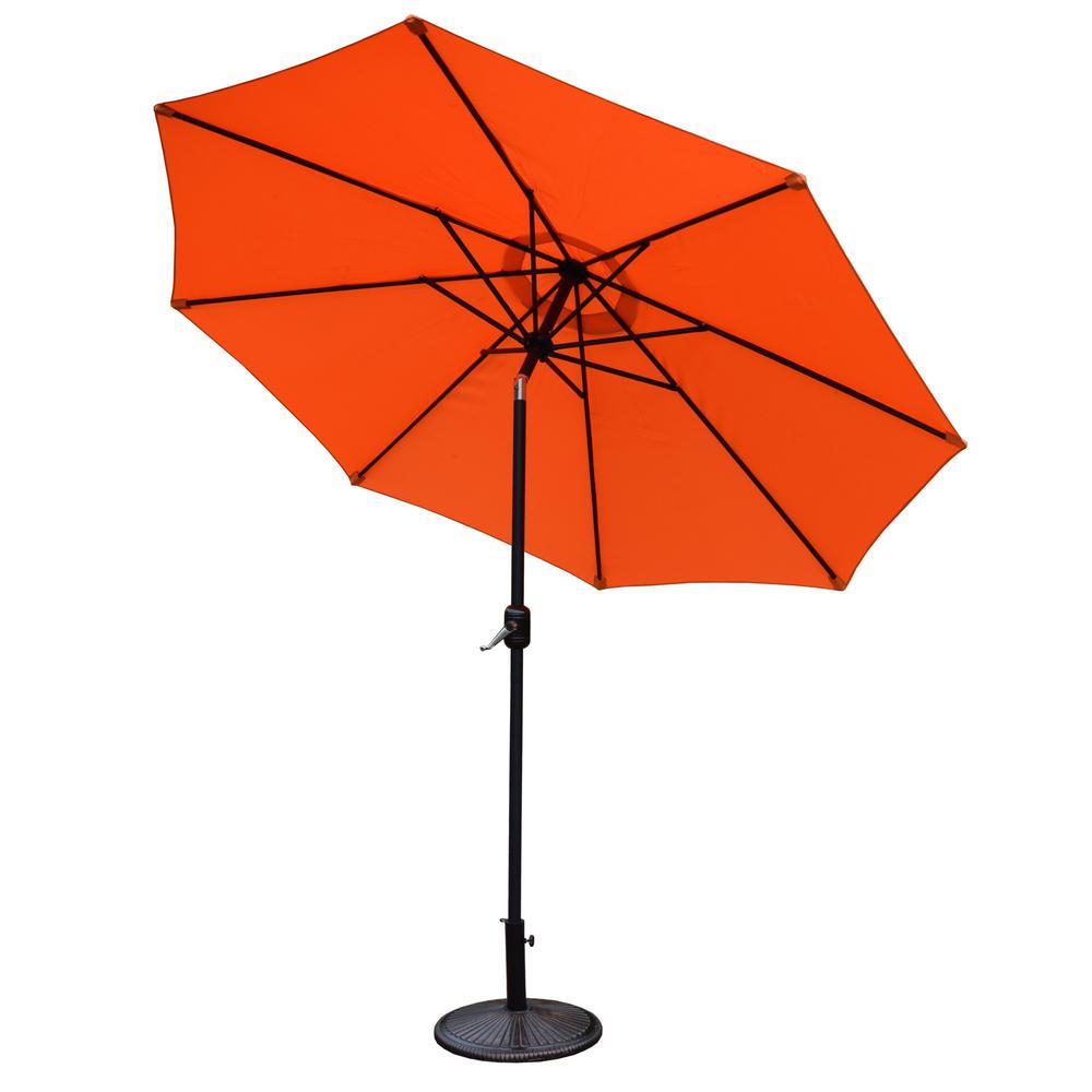 9 Ft. Tilt Patio Umbrella With Cast Iron Patio Umbrella Base