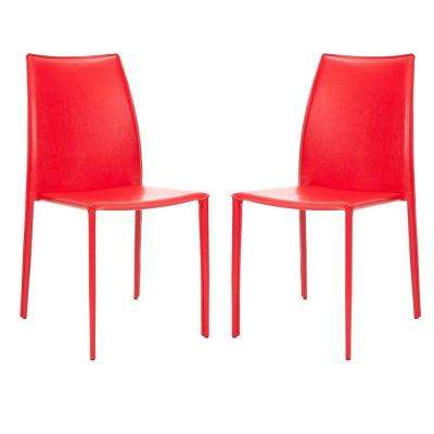 Korbin Red Bonded Leather Side Chair (Set of 2)